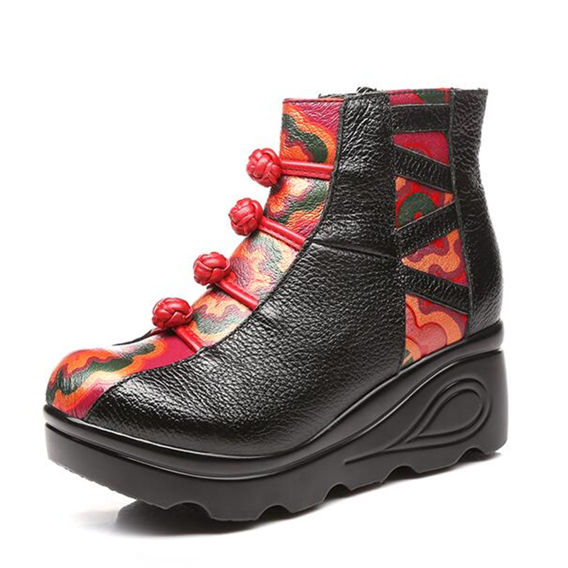 Hecha Impresión Invierno A Cuero Moda Genuino Zapatos Original 2018 rojo Nuevo Mano De Tobillo Mujer Plataforma Botas Negro Cuñas d5xqvw