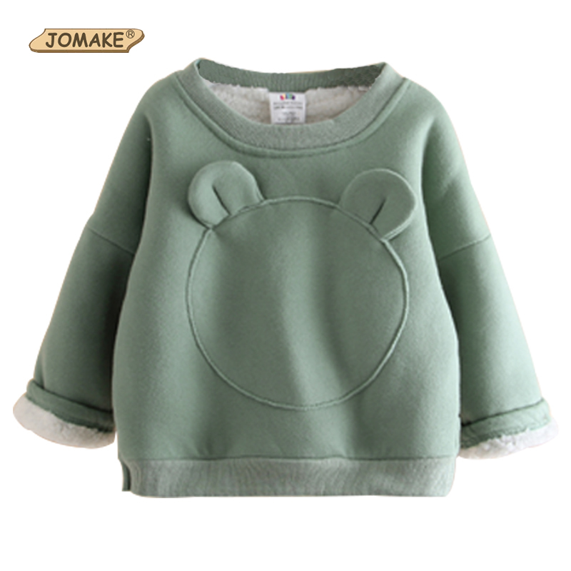 JOMAKE Girls Sweatshirts 2017 New Winter Brand Baby Girl Clothes Cute Bear Ears Long Sleeve Children Fleece Thicken Pullovers