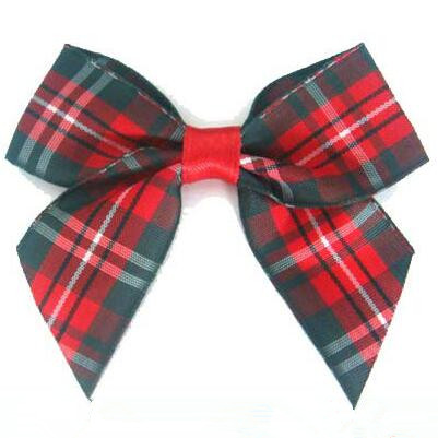 Red Fancy Plaid Bow/Pre Made Ribbon Bow Making/Pre Tied Bow Free Shipping
