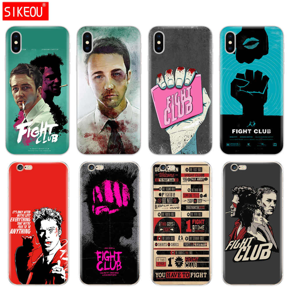 Силиконовый чехол для iPhone 6X8 7 6s 5 5S SE Plus 10 XR XS Max Case Fight Club 1999