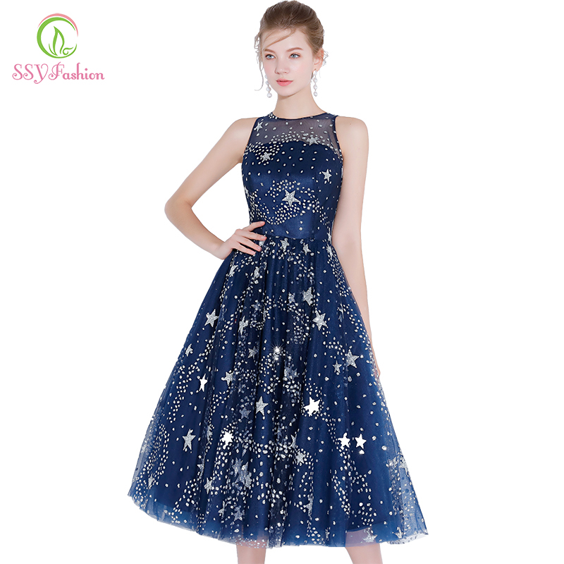 SSYFashion Banquet Elegant Short   Cocktail     Dress   Blue Star Shines Sleeveless Tea-length Party Gown Formal   Dresses   Robe De Soiree