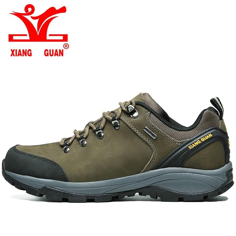 ФОТО 2017 XIANG GUAN man Cattlehide waterproof hiking shoes Anti-skid breathable men outdoor climbing Sneakers EUR size 36-45