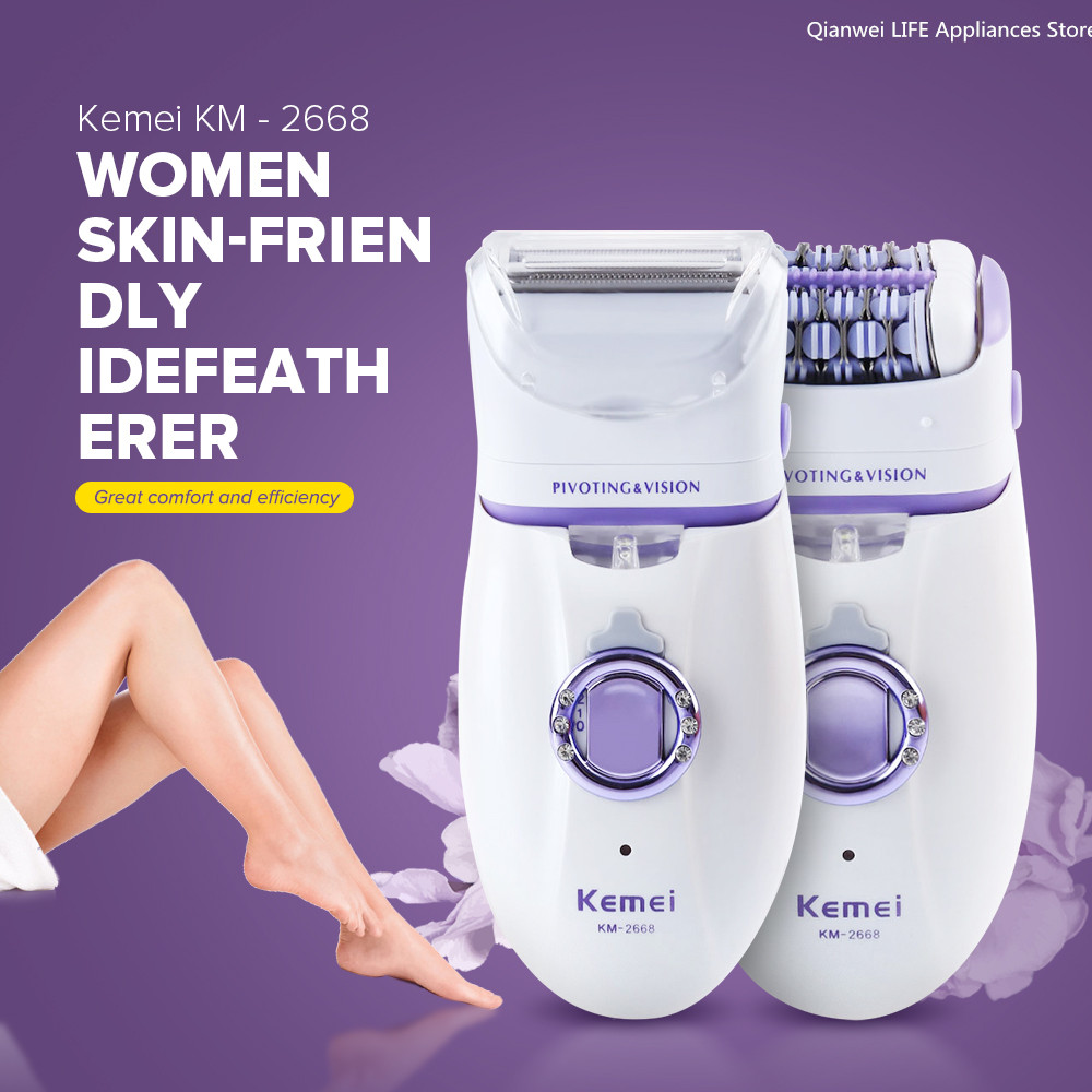Kemei 2 in 1 Women Hair Remover Electric Hair Trimmer For Armpit Bikini Leg Lady Epilator Female Body Care Shaver Defeatherer ladys usb washable rechargeable electric women epilator underarm bikini hair remover facial hair shaver trimmer wet