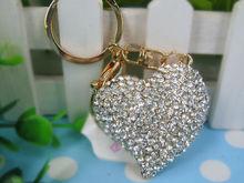 Y Heart White Car Lovely Keyring Fashion Jewelry Women Bag Rings Key Crystal Rhinestone Charm Pendant Key Chain Gift moda 2015