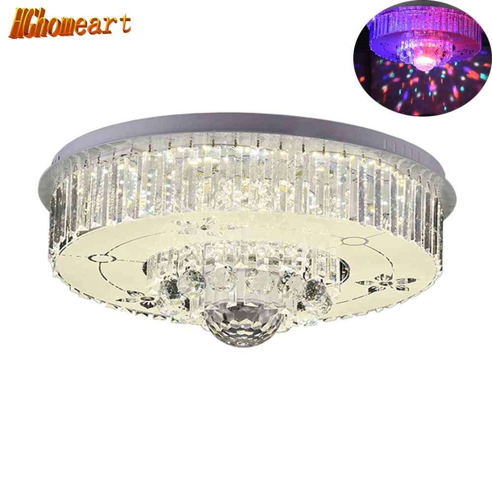 HGHomeart Fashionable Ceiling Light LED Bluetooth Crystal Music Living Room Lights Lustre Luminaire Night Lamp Lighting 110/220V