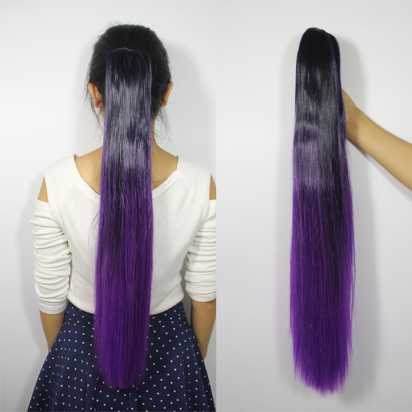 Free Shipping Two Tone Style Dip Dyed Party Cosplay Fashion Ponytail Clip In Hair Extensions