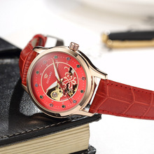 2019 Fashion Red Women Watch Brand Skeleton Mechanical Automatic Women Wrist Watches  Ladies Simple Leather Clock OUYAWEI все цены