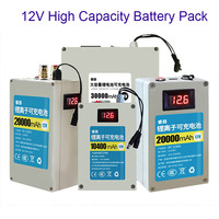 GTF High Capacity DC12V Rechargeable Polymer Lithium LiFePO4 with BMS USB Battery Pack 12.6v 10AH 20AH 30A 18650 Send Charger