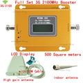 Conjunto completo Display LCD 3G W-CDMA 2100 MHz Sinal de Telefone Celular impulsionador 3G 2100 UMTS Repetidor De Sinal Amplificador de Antena Ao Ar Livre + cabo
