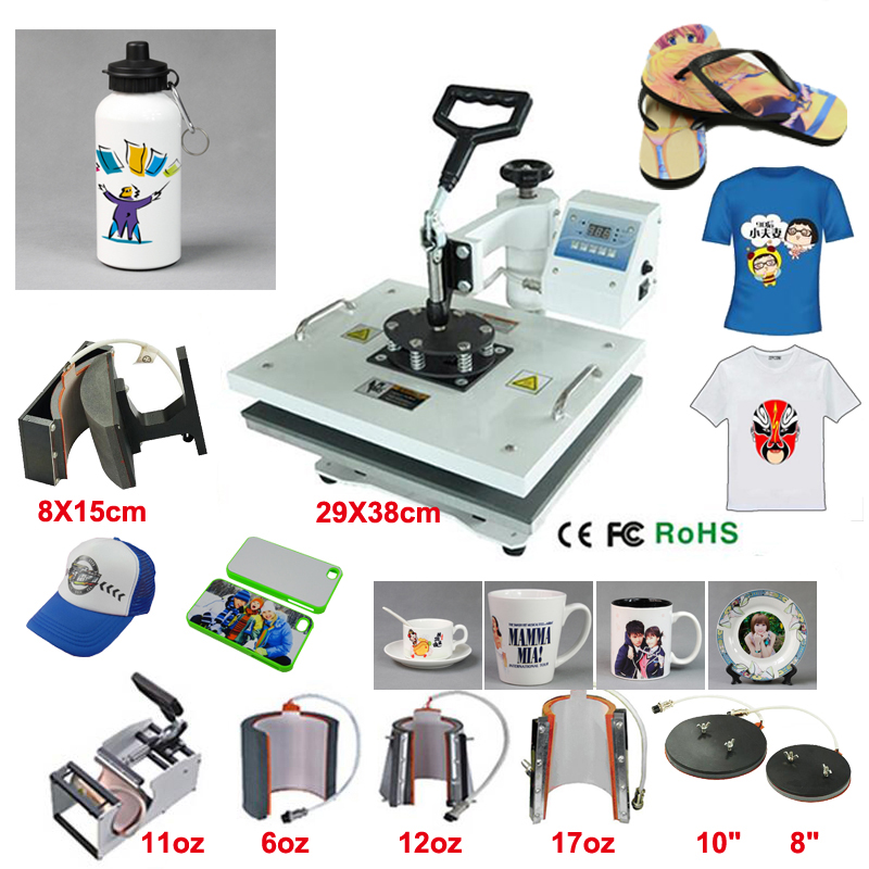 New Design 8 In 1 110V-240V Heat Transfer/Sublimation Machine Combo Heat Press Machine,for Cap Mug Plate T-shirts Printing grid hollow design t shirts in army green