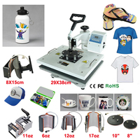 New Design 8 In 1 110V 240V Heat Transfer/Sublimation Machine Combo Heat Press Machine,for Cap Mug Plate T shirts Printing