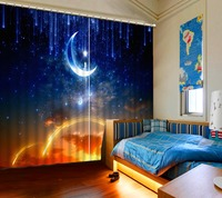 3D Custom Moon 3D Curtains For Living Room Bedroom 3D Blackout Curtains For Window Sound proof Curtain