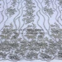 La Belleza Silver/Dark pink /red/nude/blue/gray handmade heavy beaded lace fabric 47'' widht 1 yard