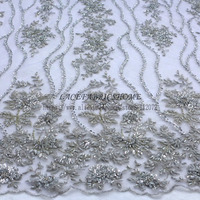 La Belleza Silver/Dark pink /red/nude/blue/gray handmade heavy beaded lace fabric 47'' widht 1 yard