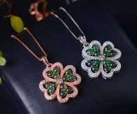 Doğal yeşil yeşim kolye S925 gümüş Doğal taş Kolye Kolye trendy Zarif Lucky clover kadınlar kız takı