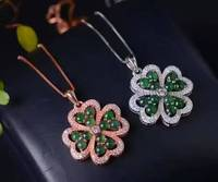 natural green jade pendant S925 Sterling silver Natural gemstone Pendant Necklace trendy Elegant Lucky clover women girl jewelry