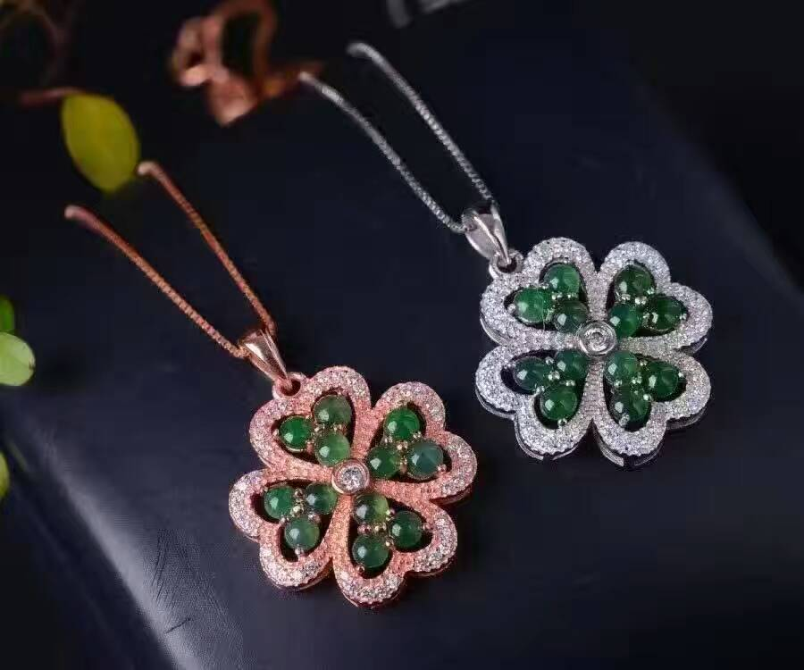 все цены на natural green jade pendant S925 Sterling silver Natural gemstone Pendant Necklace trendy Elegant Lucky clover women girl jewelry