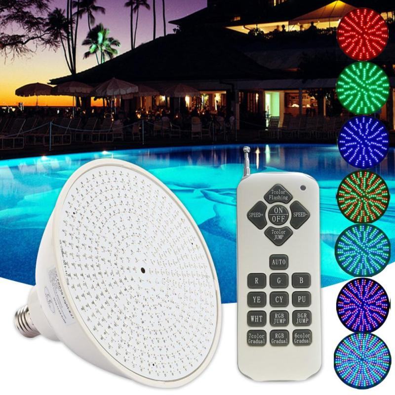 45W RGB LED Underwater waterproof Light Swimming Pool Lamp Light Fountain Spotlight Lamp With Remote Control DC 12V Z30 9w rgb led swimming pool lamp underwater light fountain spotlight lamp with remote control ac12v