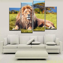 Unframed 4 Pieces Lion On The Grassland HD Printed Modern Canvas Painting Home Wall Art Deocr For Living Room Decoration Artwork
