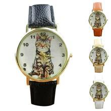 SmileOMG Neutral Diamond Lovely Cats Face Faux Leather Quartz Watches,Aug 18