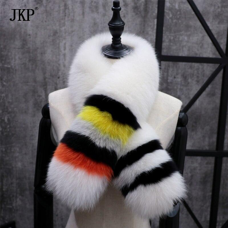 Women's Winter Genuine Fox fur Collar Fashion Scarf Color stitching Soft Fox fur Collar Real Fur Scarves - 3