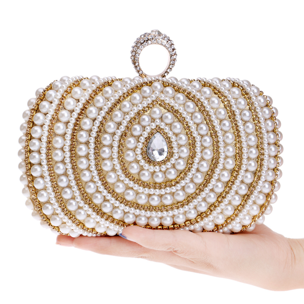 Pearl Lock Dress Formal Handbag Woman Wristlets Day Clutch Lady Wedding Evening Shoulder Bag Bridal Purse