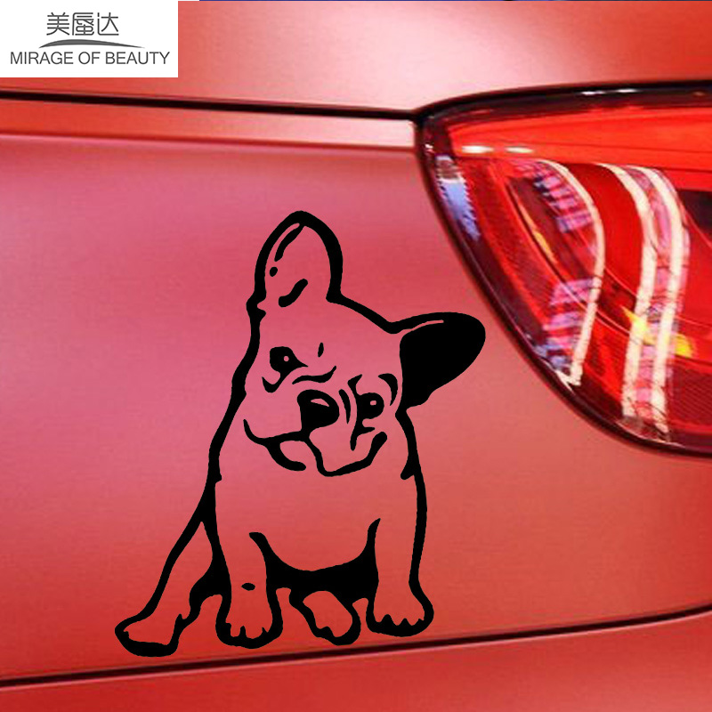 11.5cm*12.7cm Cute Animal Car Sticker French Bulldog Dog Vinyl Decal Kindergarten Window Decoration