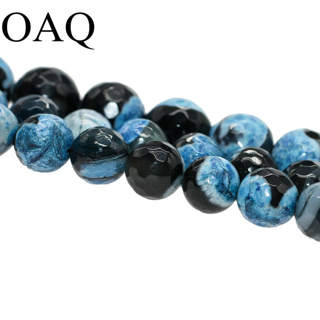 """Wholesale 15"""" 8-10mm Faceted Blue dragon vein natural carnelian onyx Beads for jewelry making"""