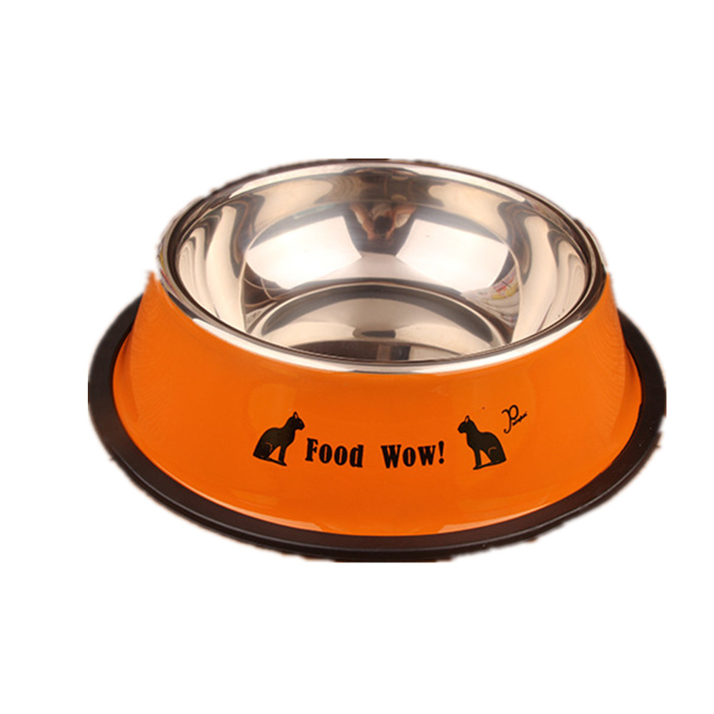Uncategorized Cute Dog Bowl dogbaby stainless steel dog bowls resistant to bite food bowl print cute pattern five color pet cats feeder puppy drinking in d