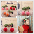 Cute Cherry Shape Wool Hair Clip Hair Pin Kids Girl Ball Pendant Children Clip