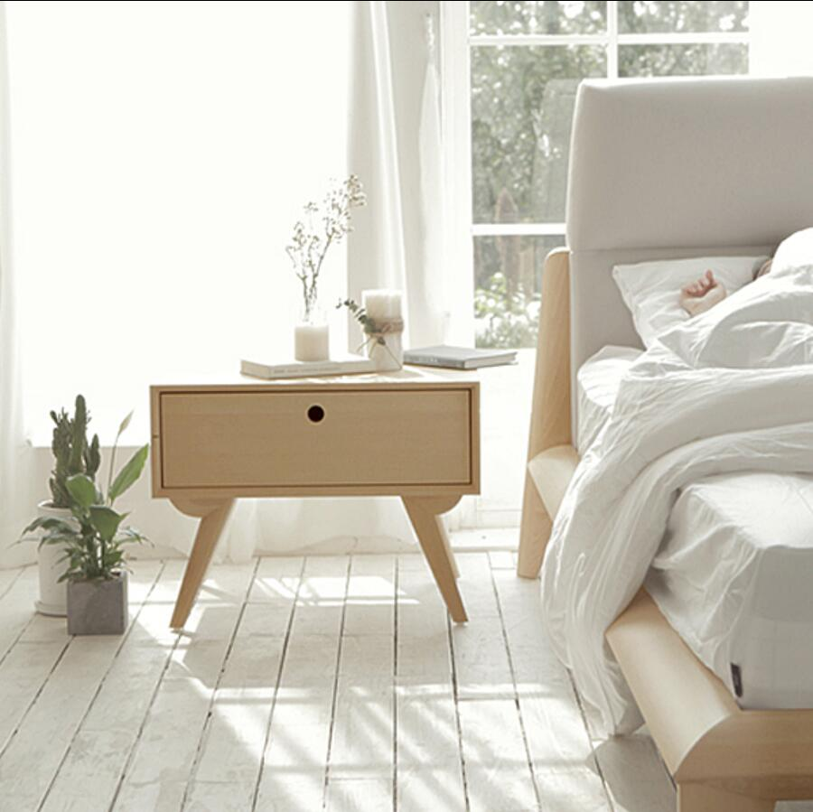 Designers Nordic bedside cabinet drawer storage cabinets wood color single small cupboard lockers sub bedside cabinet nightstand willow wood bamboo rattan straw bedside cabinet lockers storage cabinets debris cabinet