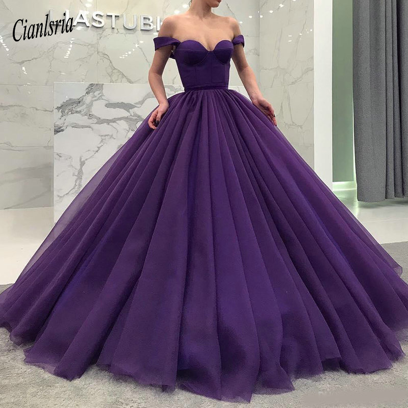 Purple Fluffy Long Quinceanera Dresses Sexy Off Shoulder Sweetheart Ball Gown Tulle Prom Dress Dubai Celebrity Party Dress