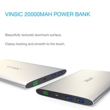 Vinsic 20000mAh Portable Power Bank External Packup Battery Charger Dual USB LED Display for iPhone X 8 8 Plus Samsung Xiaomi
