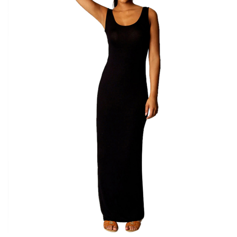 0c422070de4f Summer Women Cotton Stretch Long Sundress Maxi Long Beach Tank Dress Casual  Elegant Party Dress Suits