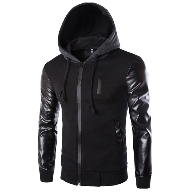 Mens Hoodies Patchwork Leather Sleeve Fashion Hoodies Men Jacket Coat Brand Sweatshirt Slim Suit Pullover Tracksuits Masculino