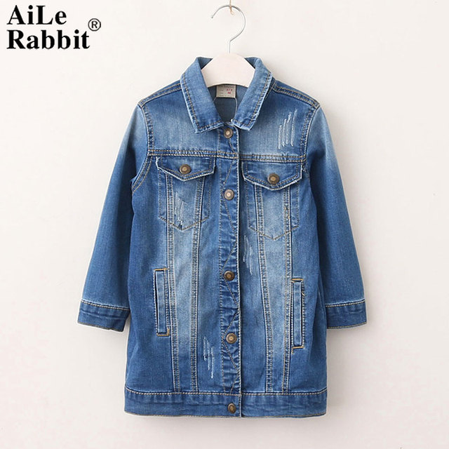 f1d46bb6f AiLe Rabbit 2018 New Girl Denim Jacket Brand Style Long Sleeved Coat ...