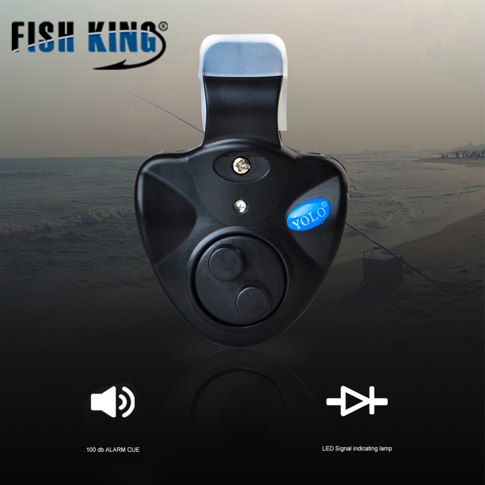 FISH KING 1pcs 40g Fishing Electronic LED Light Fish Bite Sound Alarm Bell Clip On Fishing Rod Black Tackle Fishing Accessories