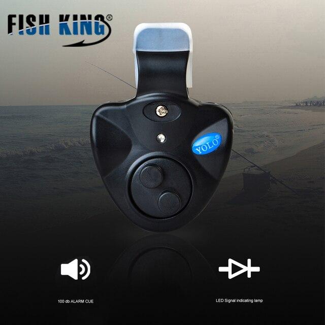 Pez rey 1 piezas ZS 40g pesca electrónica LED luz picadura sonido alarma Clip en caña de pescar negro abordar accesorios de pesca