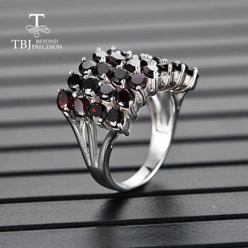 TBJ, สไตล์ใหม่ธรรมชาติอัญมณีสีดำแหวนโกเมน 925 เงินสเตอร์ลิงเครื่องประดับ Fine สำหรับผู้หญิงครบรอบวันเกิดของขวัญดี