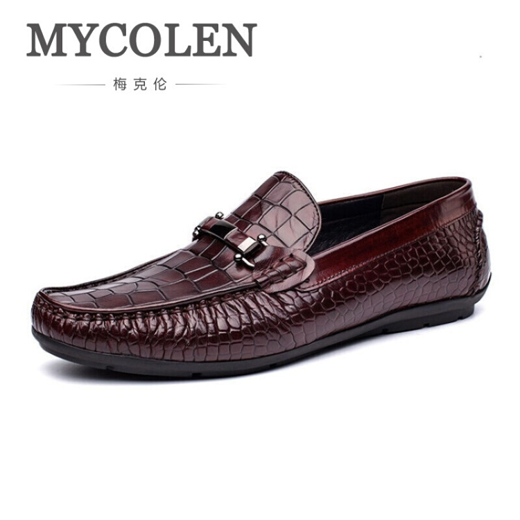 MYCOLEN Brand New Autumn Leather Shoes Luxury Genuine Leather Men Loafers Slip On Casual Shoes Tenis Masculino Adulto mycolen casual moccasins men loafers shoes new fashion breathable slip on blue men genuine leather flat shoes sapato masculino