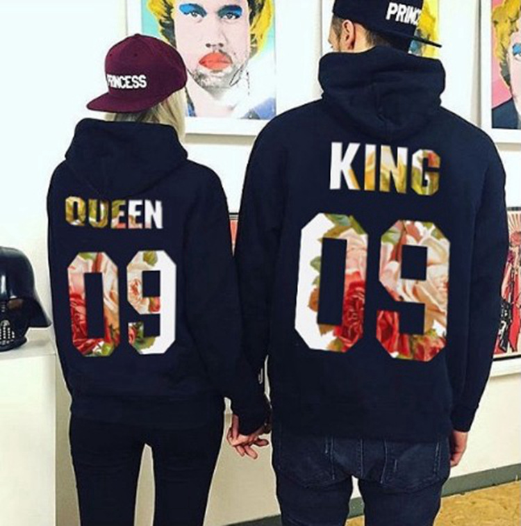 New Hot King Queen Couple Letter Print 2018 Long Sleeve Suits Number Hooded Sweatshirts