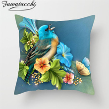 Fuwatacchi Flower Paint Cushion Cover Sunflower Rose Dandelion Home Decor Accessory Throw Pillows Sofa Car Bed Pillowcase