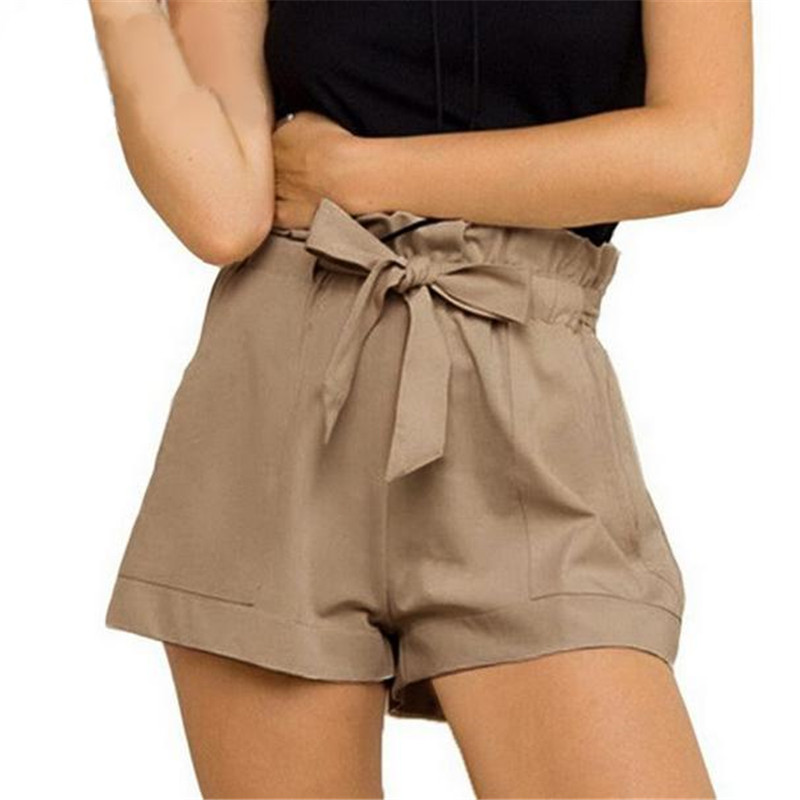 Women Summer  Casual Design High Waist Loose Fashionable Shorts Female Solid Trouser With Belt Black White Chores Para Mujer