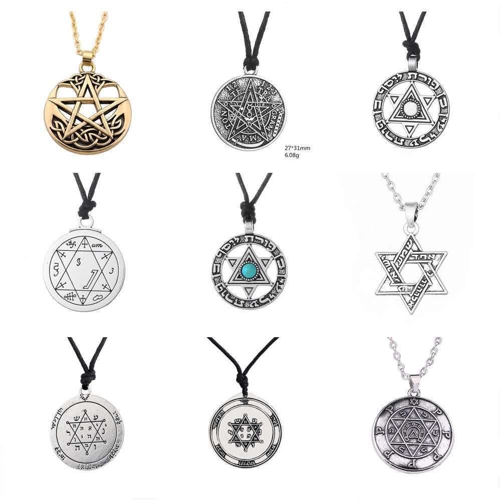 SKYRIM Vintage Wicca Tetragrammaton Pentagram Pentagram naszyjnik salomon talizman Amulet nadprzyrodzone naszyjniki dla mężczyzn