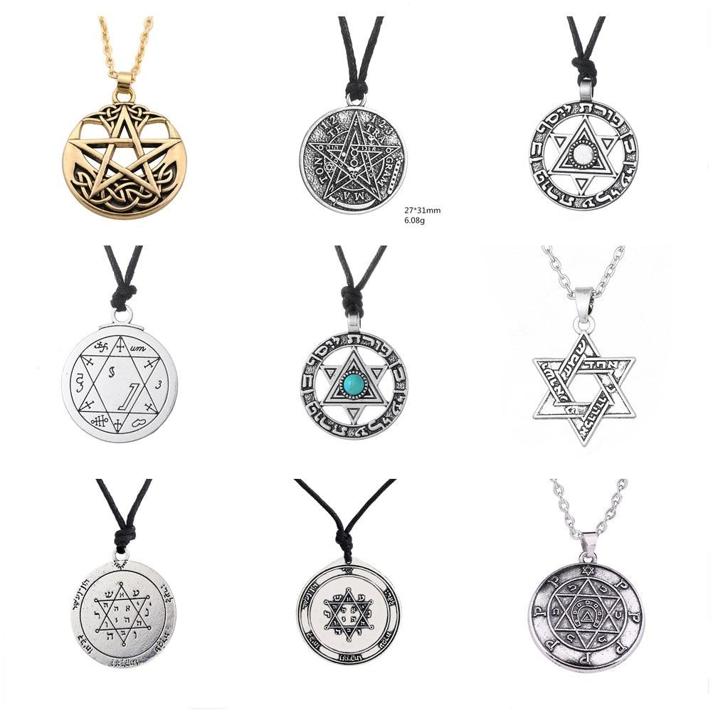 Винтажное ожерелье SKYRIM с пентаграммой, кулон, талисман сверхнатуральный, подходит для мужчин Цепочки      АлиЭкспресс