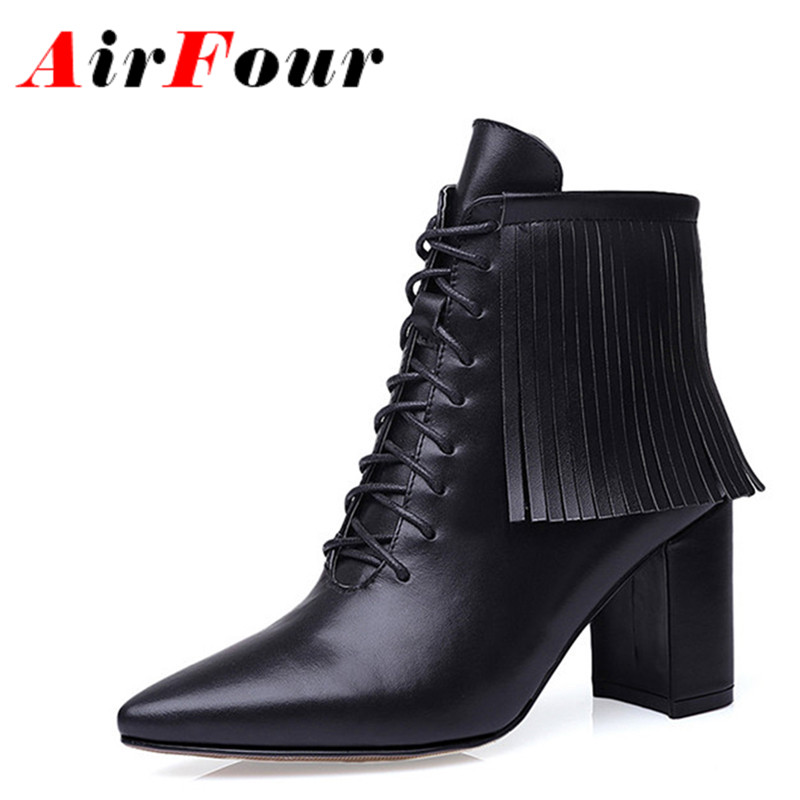 ФОТО ENMAYLA Classic Black Women Winter Warm Ankle Boots Zip Tessel Pointed Toe Thin High Heels Solid New Fashion Style  Lady Shoes
