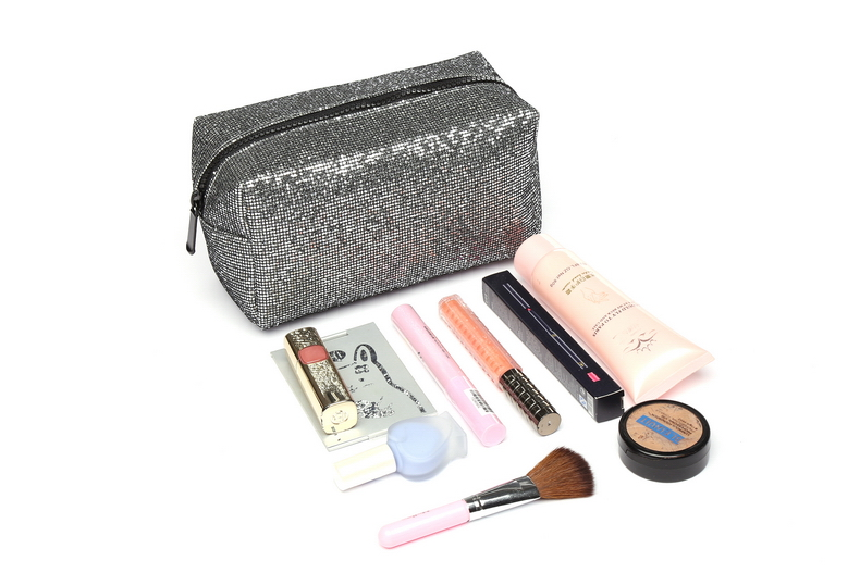 Pu Lightning Material Cosmetic Bags For Women Makeup Bag Sparkle Sequins Large Capacity Portable Stylish Makeup Organizer Pouch