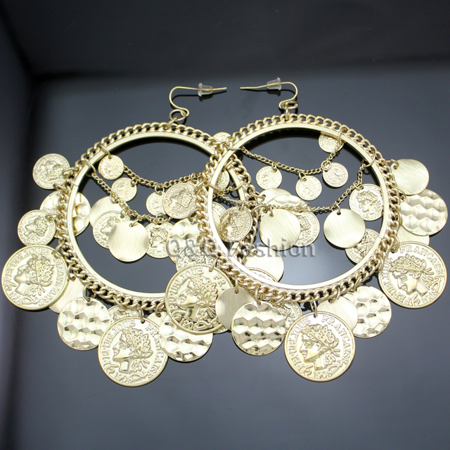 2017 Gold Silver Tribal Rare Coins Big Hoop Banjara Kuchi Belly Dance Chain Boho Gypsy Earrings Brincos Jewelry