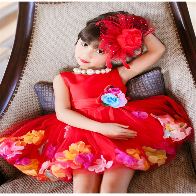 Retail Lovely Flower Girl Dresses With Colorful Petal Tulle Princess Ball Gown Party Wedding Girls Dresses L108