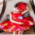 Varejo Vestidos Da Menina Linda Flor Com Colorido Pétala Tulle Princesa Bola Vestido de Festa de Casamento Meninas Vestidos L108
